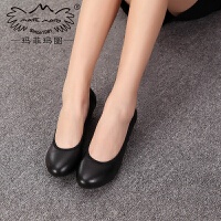 玛菲玛图 新款真皮女鞋黑色粗跟中跟OL职业单鞋女0268-1A