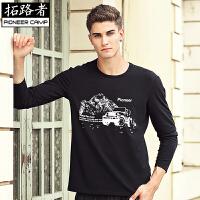 拓路者Pioneer Camp春季纯白色打底衫男长袖修身型 棉质JEEP车印花圆领T恤男 305092