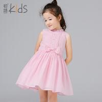 初语童装女童连衣裙2017新款韩版儿童公主裙无袖女孩裙子夏季