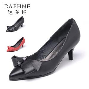 Daphne/达芙妮  舒适尖头蝴蝶结真皮浅口女单鞋10 404021