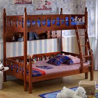 尚满 地中海儿童卧室实木高低床 儿童双层床子母床 高低床上下铺组合床 上下床 1.5X1.9米