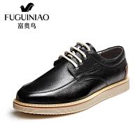 富贵鸟时尚男士系带生活休闲皮鞋圆头男鞋子