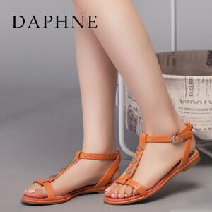 Daphne/达芙妮  女鞋低跟平底T型铆钉扣带女凉鞋1015303077