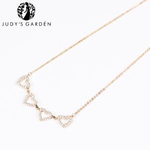 【茱蒂的花园】爱心相印精致水钻项链电镀真金K金玫瑰金锁骨链吊坠颈链女款女式时尚款送女友女生生日礼物
