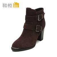 秋冬新品 鞋柜shoebox秋冬纯色短靴潮 欧美简约粗跟女靴1115505243