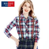 BRIOSO全棉加绒磨毛女士保暖衬衫 女装加绒加厚韩版显瘦打底格子保暖长袖衬衫 WE19395C2