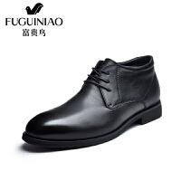 富贵鸟男靴 冬季新款富贵鸟男靴圆头系带商务正装棉鞋男鞋短靴