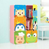 崇尚 简易组装书柜储物柜卡通儿童书架子格子柜 6门款秒杀