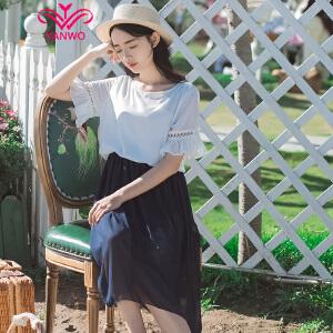 演沃 2017新款文艺雪纺拼色短袖连衣裙