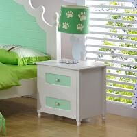 尚满 儿童卧室家具女孩床头柜 韩式田园多功能双抽组装储物柜 床边柜