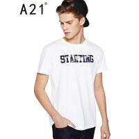 以纯线上品牌a21 2017夏装新款T恤男街头个性印花圆领男装短袖上衣