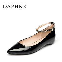 Daphne/达芙妮女鞋 夏季低粗跟尖头后扣带浅口中跟单鞋