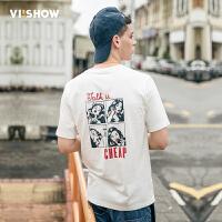 viishow2017男T恤 夏装新品漫画印花短袖t修身纯棉体恤青年男士