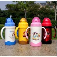 迪士尼保温杯不锈钢宝宝学饮杯带手柄吸管儿童水杯子3220