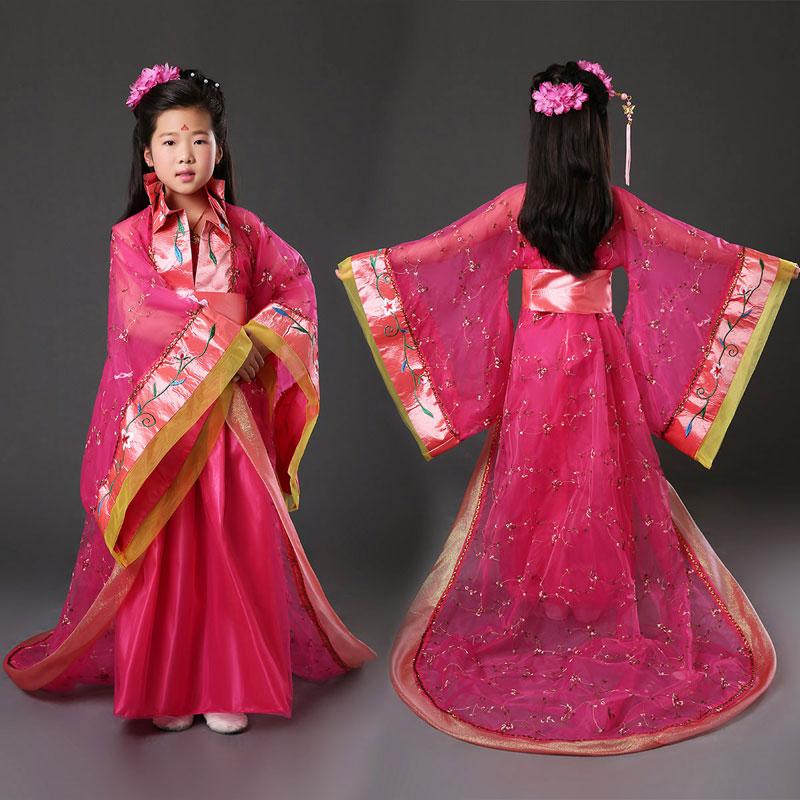 儿童演出服古装唐装女童古代唐朝拖尾公主贵妃装舞蹈表演出服装汉服
