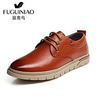 富贵鸟时尚新潮休闲鞋男士系带鞋皮鞋橡胶底男鞋