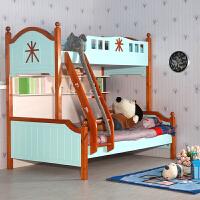 尚满 卧室儿童房家具上下高低床 地中海双层床实木框架儿童床 子母床 多功能上下床带书架
