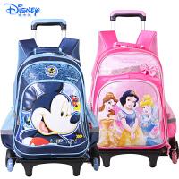迪士尼(Disney)米奇公主儿童拉杆书包小学生男女童1-6年级卡通三轮拉杆书包