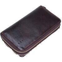 商务男士长款手拿包复古时尚真钱包手机包随身携带钱包