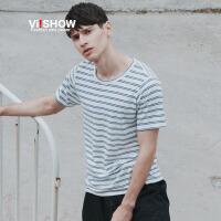 viishow夏装新款短袖t恤 欧美简约基础短袖男 蓝白条纹t恤潮
