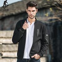 拓路者Pioneer Camp 冬季青年夹克衫男加绒加厚 黑色摇粒绒保暖卫衣外套潮  520032