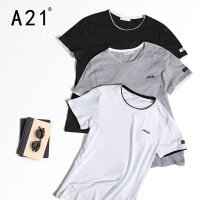 以纯A21短袖t恤男装半袖潮牌衣服男士修身上衣夏季圆领2017新款潮男