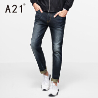 以纯A21男士黑色休闲长裤 弹力牛仔裤男小脚 修身型简约青年春季长裤