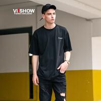 VIISHOW2017夏装新品圆领套头短袖T恤男纯棉修身字母印花男士t