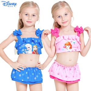迪士尼冰雪奇缘苏菲亚儿童速干卡通泳衣女童裙式泳衣分体游泳衣泳装
