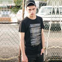 VIISHOW2017夏装新品个性抽象印花休闲短袖T恤男微弹套头男士短t