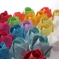 彩色手揉纸 手工折纸 折纸玫瑰花纸 川崎折纸玫瑰花材料折纸