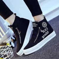新款棉鞋女高帮加棉帆布鞋女韩版潮厚底女鞋松糕鞋学生休闲板鞋