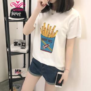 演沃 2017女装夏装新款潮图案印花短袖T恤女韩版圆领宽松百搭