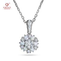 先恩尼钻石 白18K金群镶 钻石吊坠 克拉效果项坠 群镶钻石 有证书 HFGCDZ304