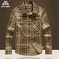 AFS JEEP/战地吉普 2017春装新款正品男装格子纯棉休闲男士长袖衬衫