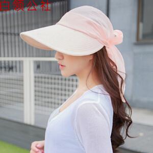 白领公社 夏季骑车遮阳帽子 防紫外线凉帽韩版大沿防晒帽女士花朵太阳帽 学生两用空顶帽子