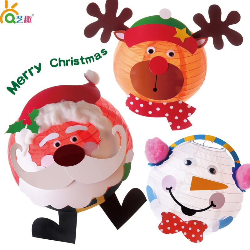 新款圣诞节雪人灯笼老人灯笼diy儿童手工圣诞卡通手提灯笼材料包