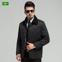 逸纯印品(EASZin)男士棉衣 冬季 短款 翻领 单排扣 中年休闲 男装棉袄