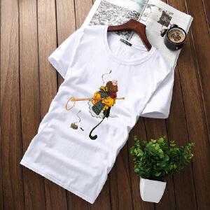 逸纯印品(EASZin)短袖t恤男 韩版修身KNF字母印花短袖体恤衫