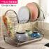 【可货到付款】欧润哲 厨房加粗加长款沥水架碗碟架 不锈钢双层S碗架一体化碗筷收纳架