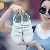 匡王2017夏季新款小白鞋女韩版低帮透气平底单鞋魔术贴懒人鞋白色运动鞋