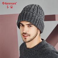 kenmont男士冬季帽子韩版潮卷边针织帽加绒护耳毛线帽冬天套头帽1759
