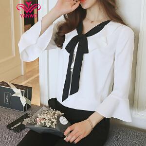 演沃 2017夏季新款韩版荷叶领系带喇叭袖雪纺衫显瘦百搭白色衬衣
