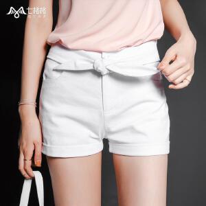 【9.21超级品牌日】七格格夏新款个性腰间绑带设计 修身两色短款休闲裤女