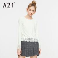 以纯A21女装圆领蕾丝拼接长袖毛针织衫女  纯色甜美欧根纱淑女套头衫