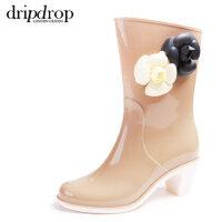 dripdrop高跟女短靴雨鞋 中筒雨靴 山茶花女士水鞋