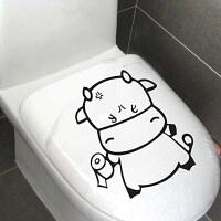 宜美贴 拿厕纸的牛 卫生间马桶贴卡通可爱壁纸韩国创意墙贴