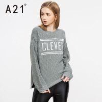 以纯A21女装圆领字母印花套头毛衣女 2017春装新款时尚简约半高领线衫