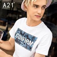 以纯A21男装白色圆领短袖t恤 男士修身时尚印花纯棉时尚潮男夏装衣服