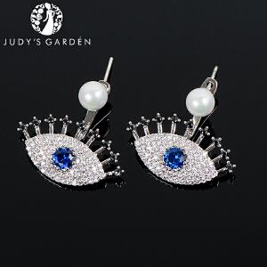 【茱蒂的花园】925银针恶魔之眼蓝眼睛MONACO时尚风格APM耳环耳钉耳饰珍珠耳坠饰品首饰女款女式